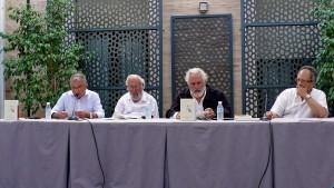 De izquierda a derecha: Manuel Eugenio Romero (Asociación Incudema), Domingo Prieto, Pepe Baena y Guillermo Duclos (Asociación Periferias)